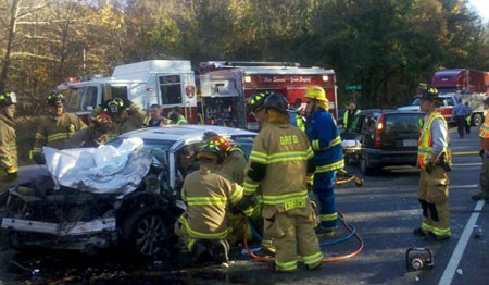 Emergency crews respond to a three-vehicle accident at the intersection of N.C. 68 and E. Harrell Road on Nov. 9. Photo courtesy of Steve Butler.